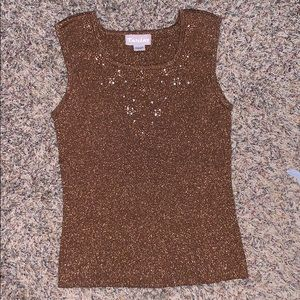 TanJay sparkly copper colored and beaded tank top